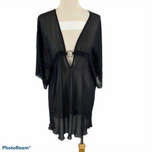 LA VIE EN ROSE Black Sheer Bathing Suit Cover